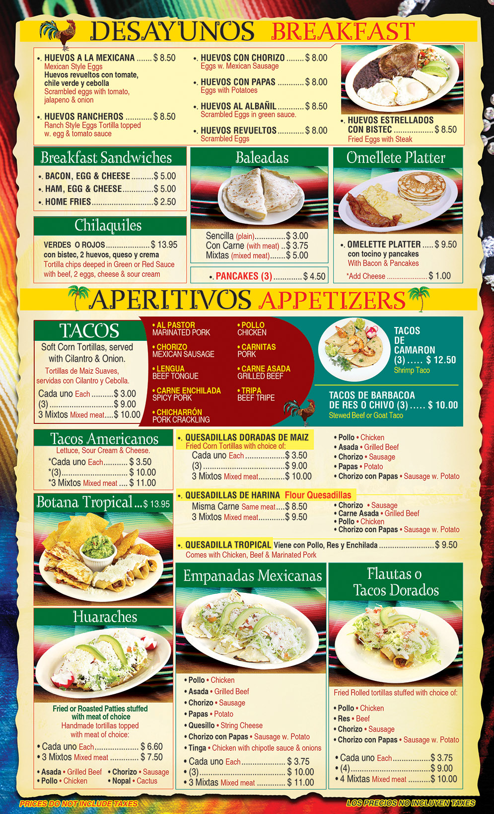 El Gallo Tropical Menu Page 1