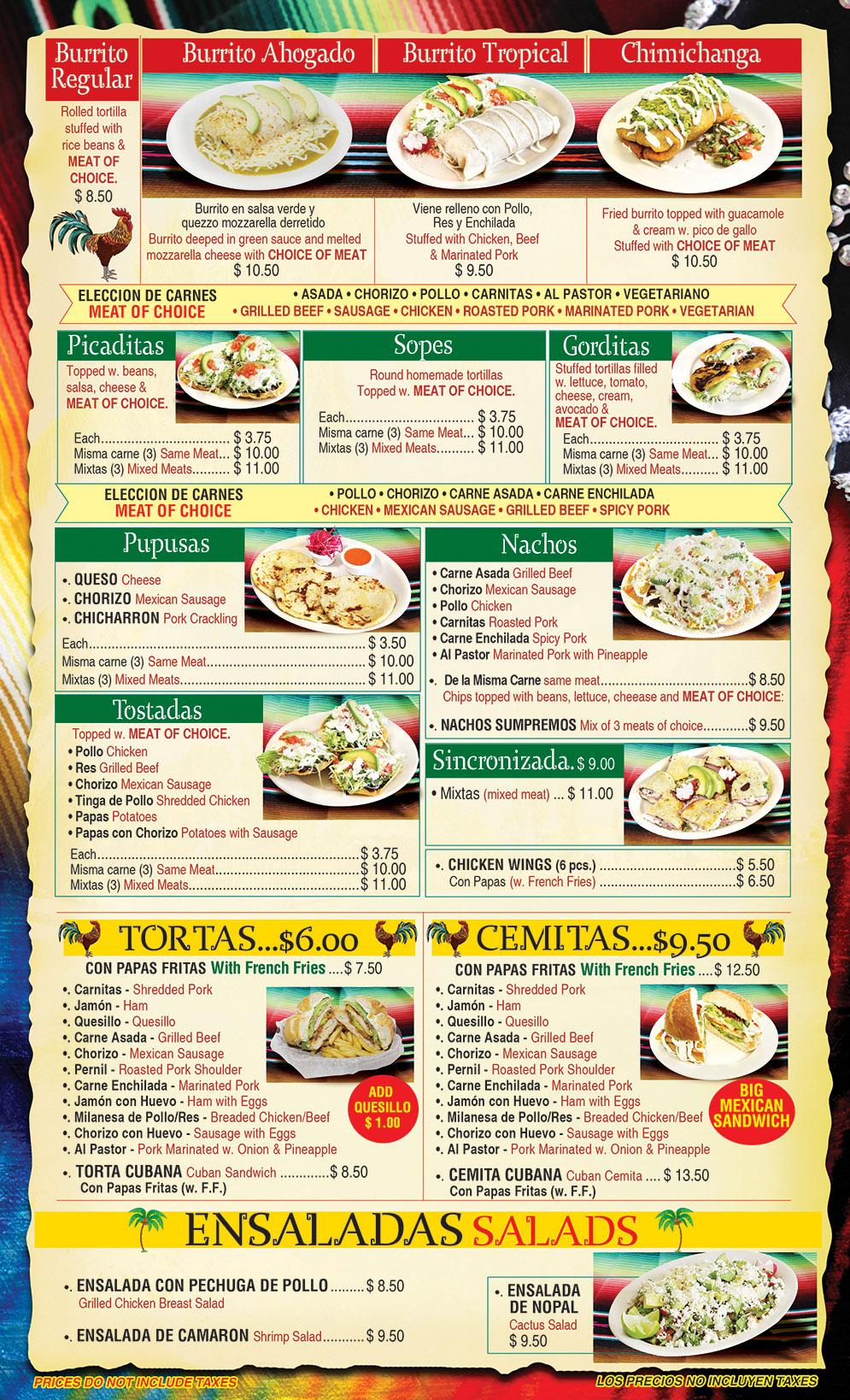 El Gallo Tropical Menu Page 2